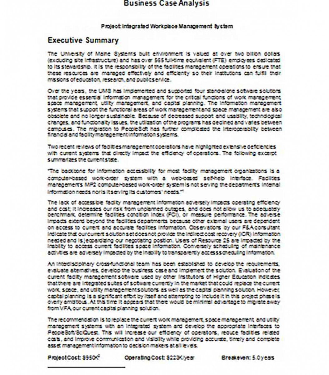 Executive Summary Business Case Sample.