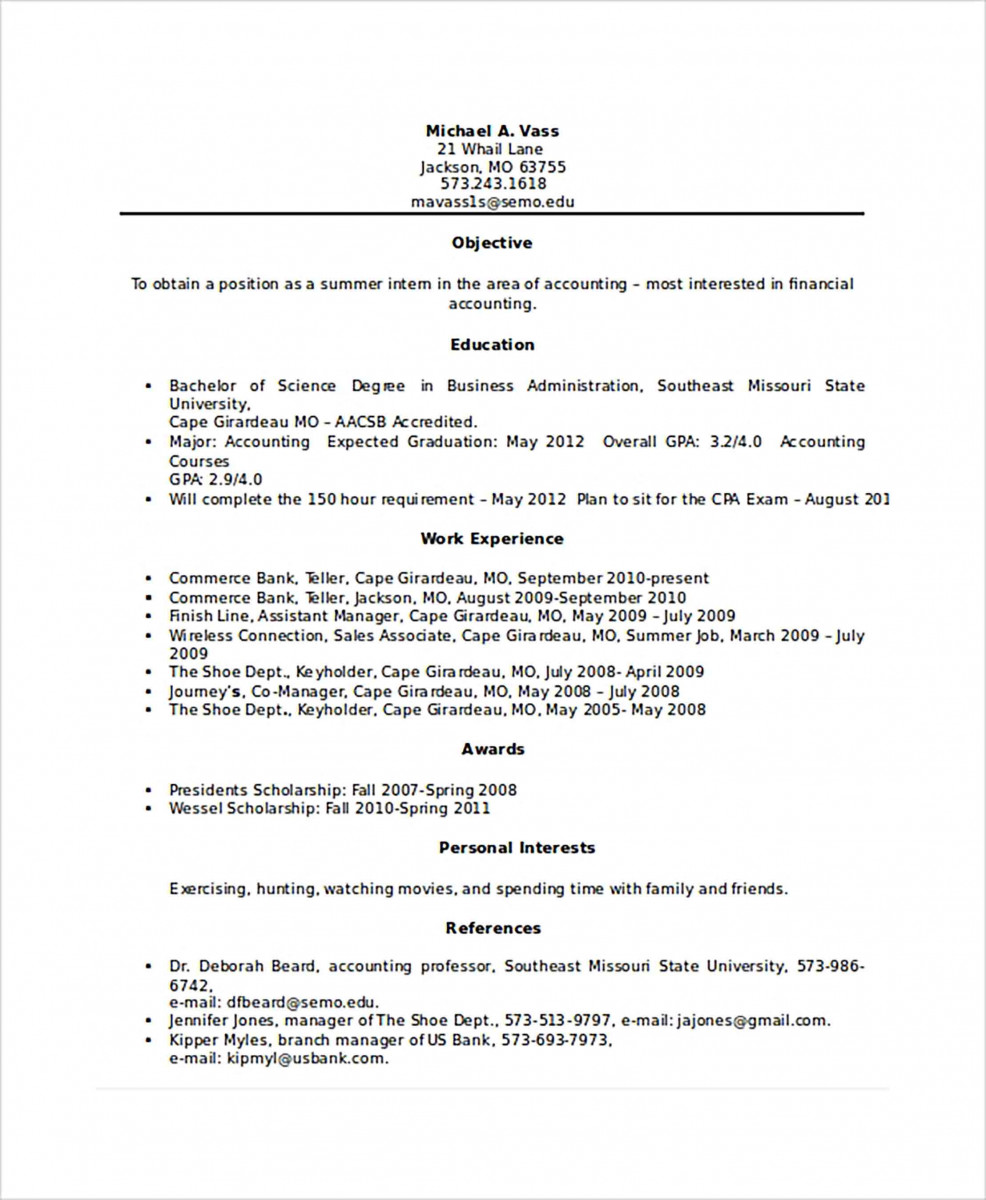 Experience Bank Teller Resume