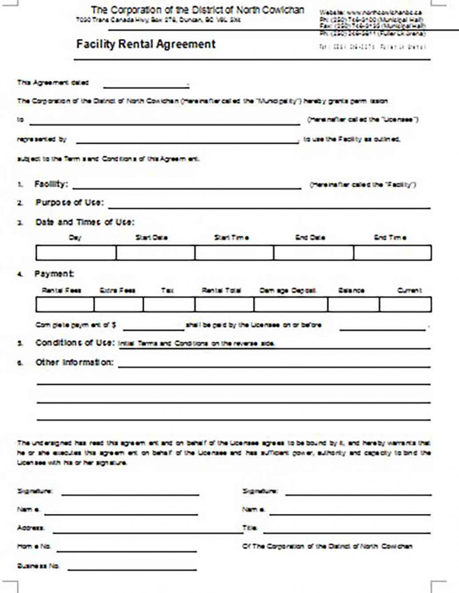 Facility Rental Agreement Printable