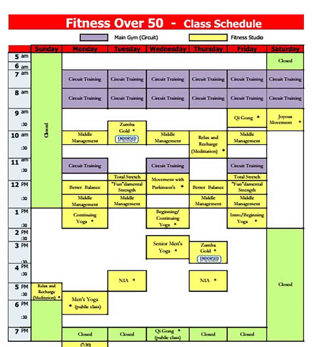 Fitness Class Schedule templates