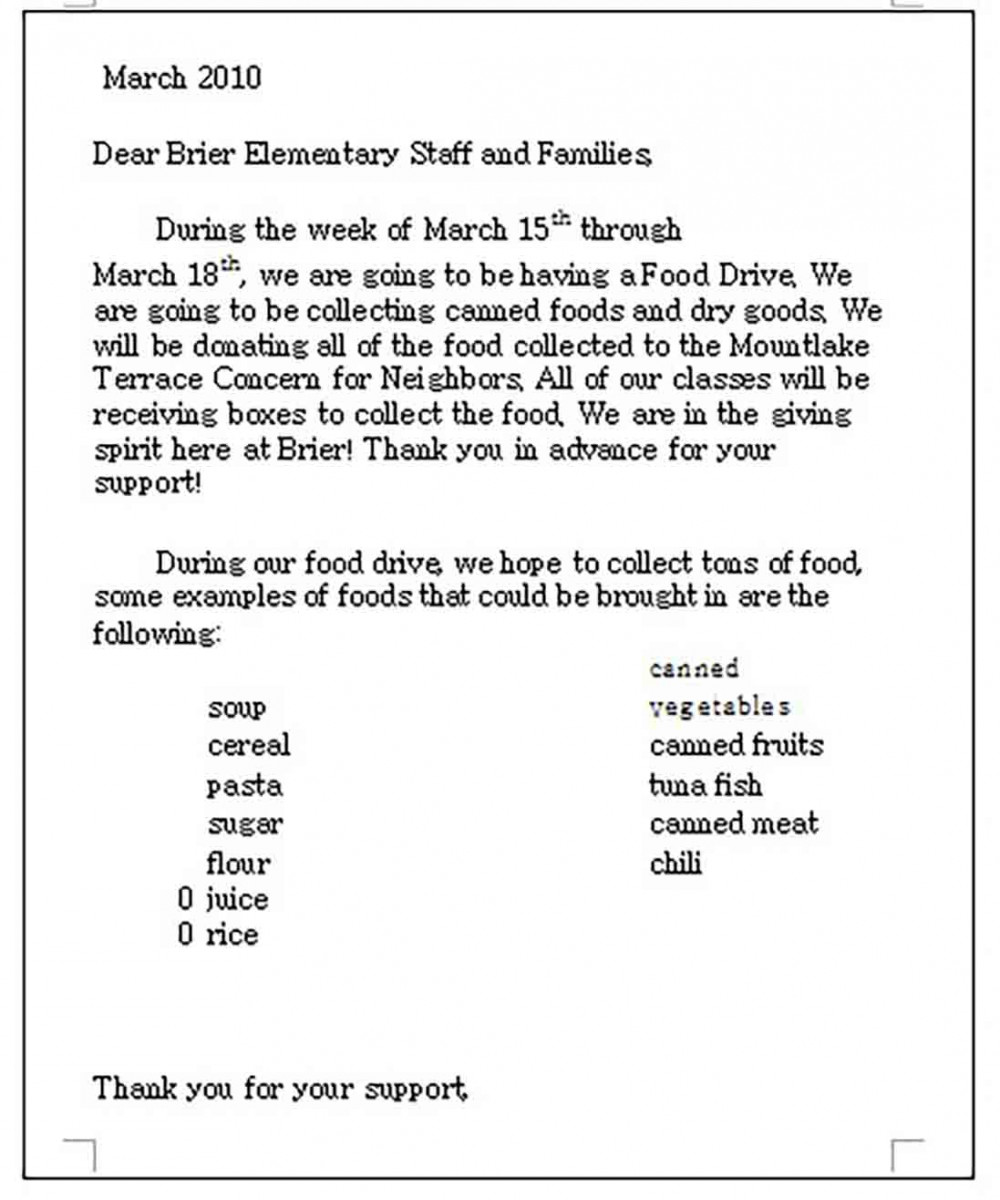 Food Donation Letter templates