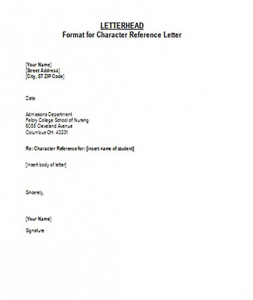Format for Character Reference Letterhead