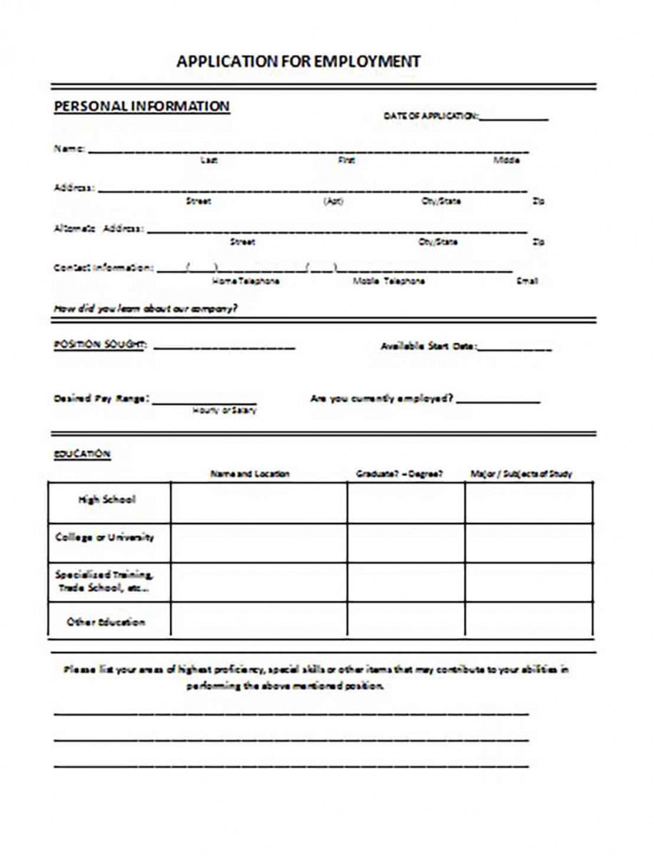 General Application for Job Employment