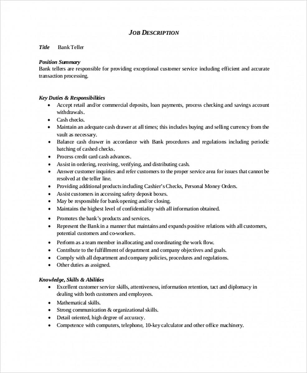 General Bank Teller Resume