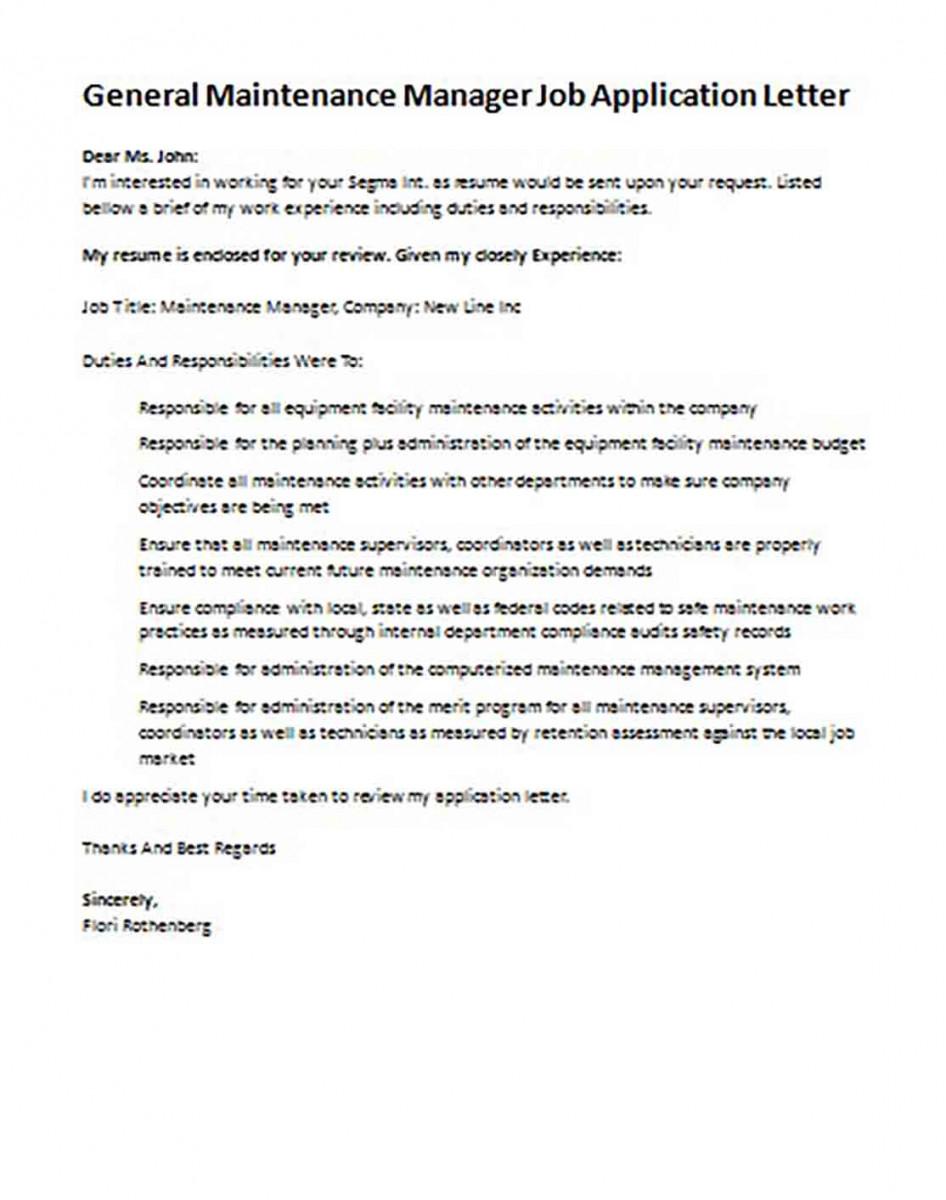 General Maintenance Manager Job Application Letter