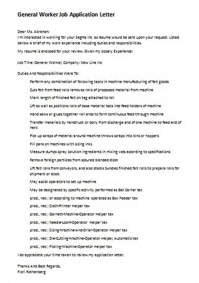 General Worker Job Application Letter