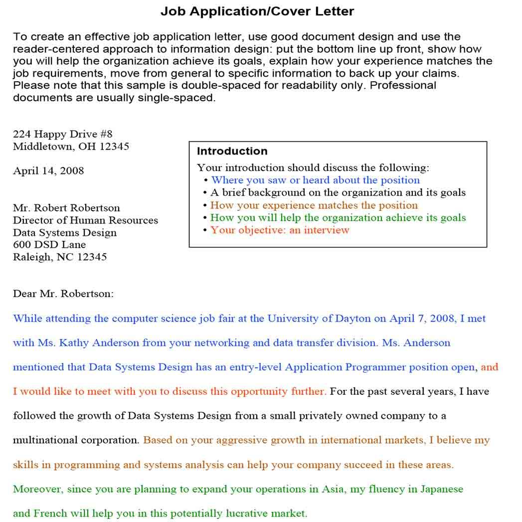 Generic Job Application Cover Letter 1