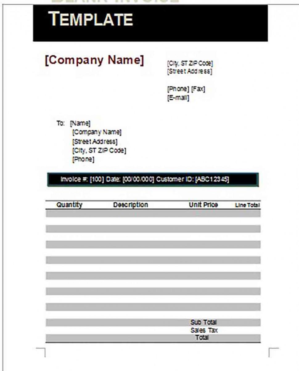 Google Blank Invoice templates