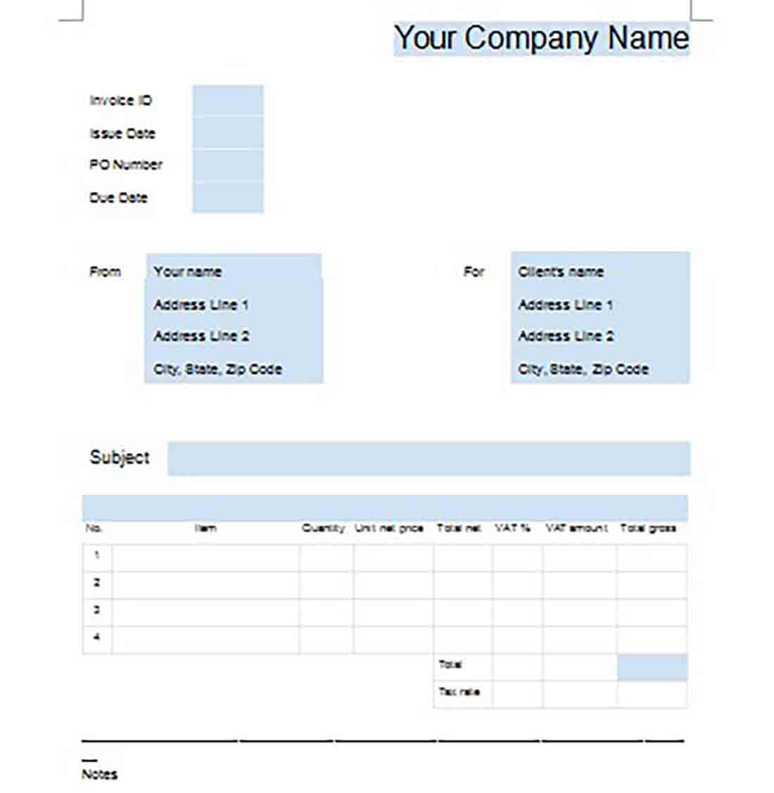 Google Business Invoice templates 1