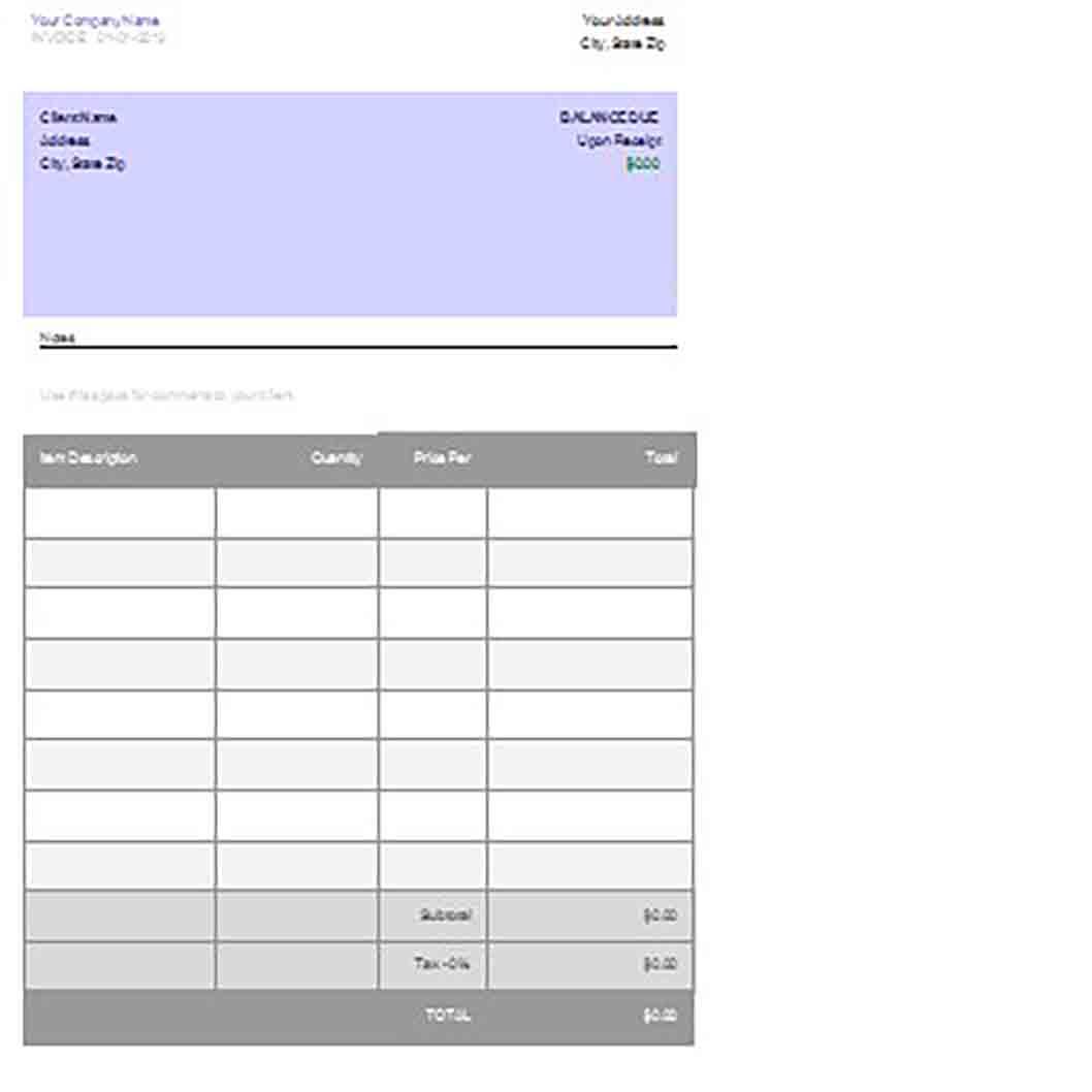 Google Docs templatess Invoice 1