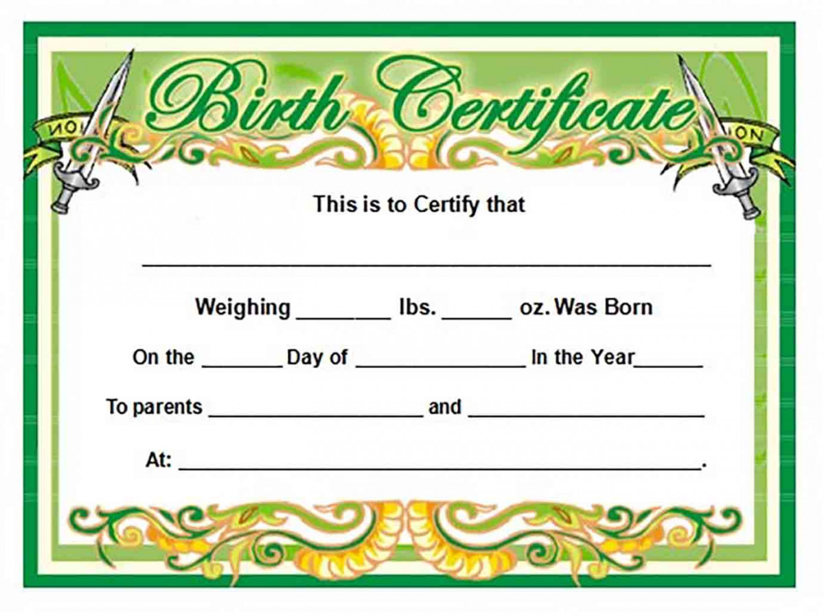 Green Baby Birth Certificate templates