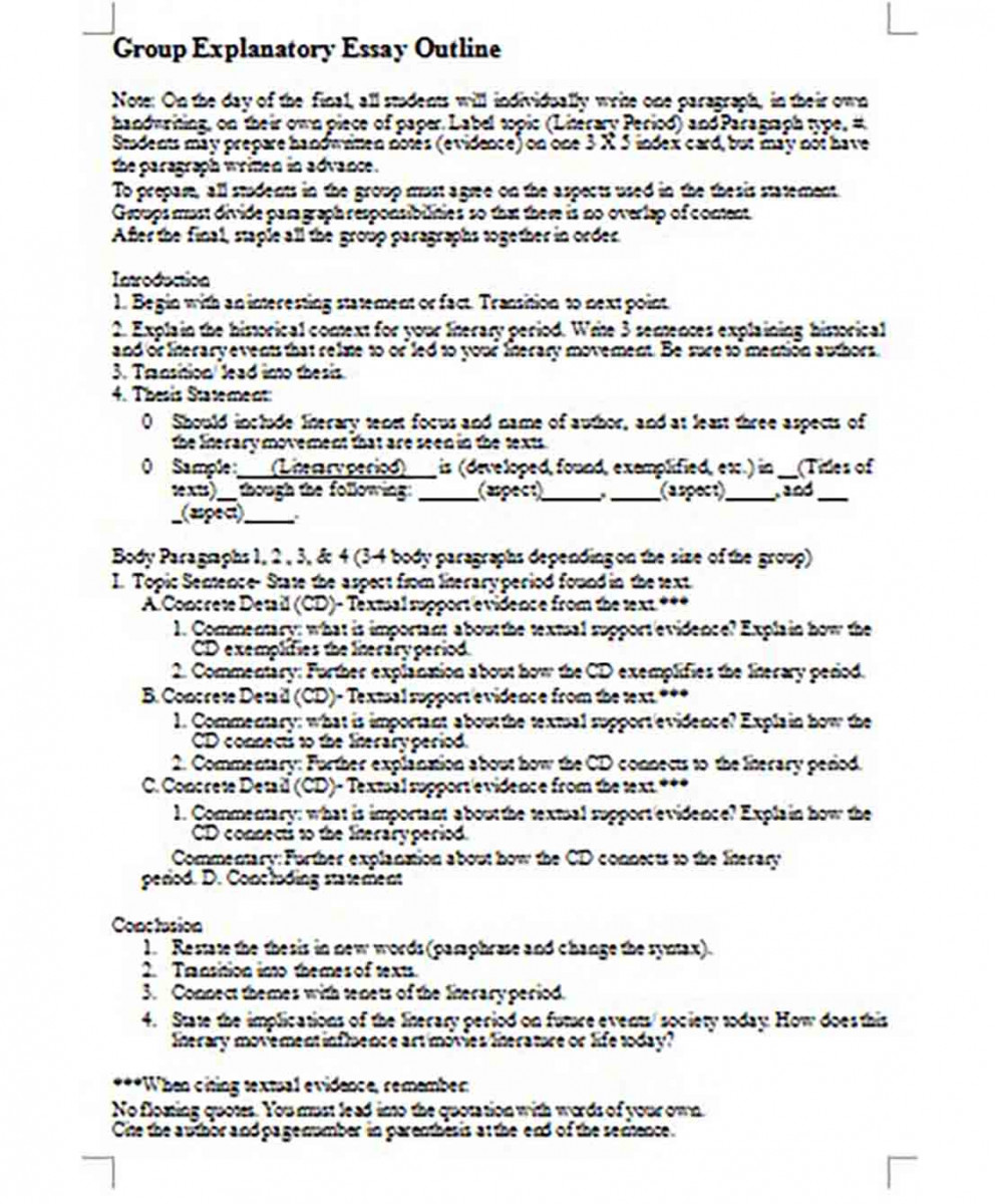 Group Explanatory Essay Outline Format