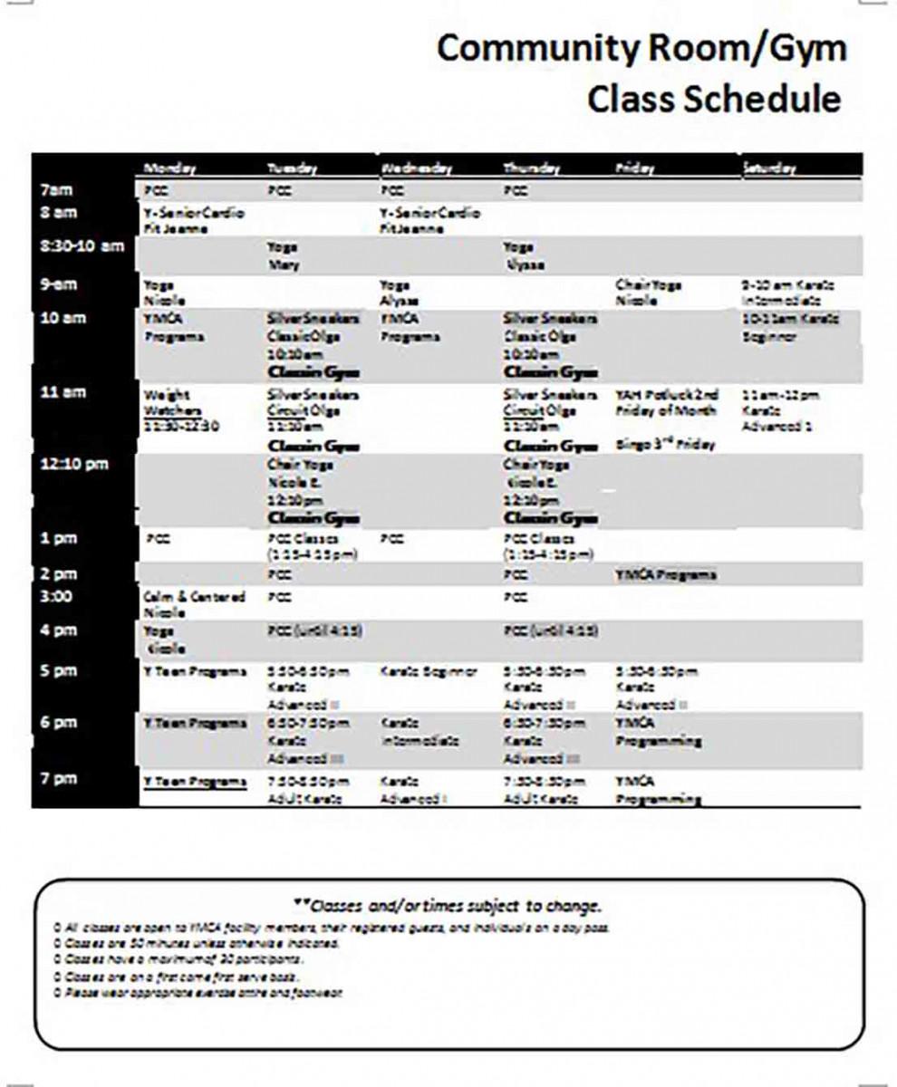 Gym Class Schedule