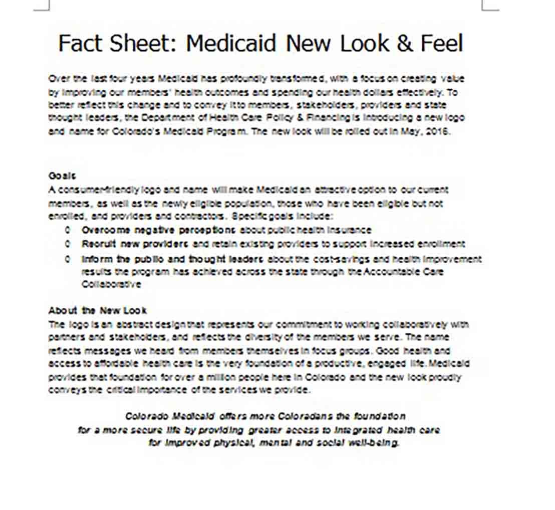Health First Colorado Fact Sheet templates
