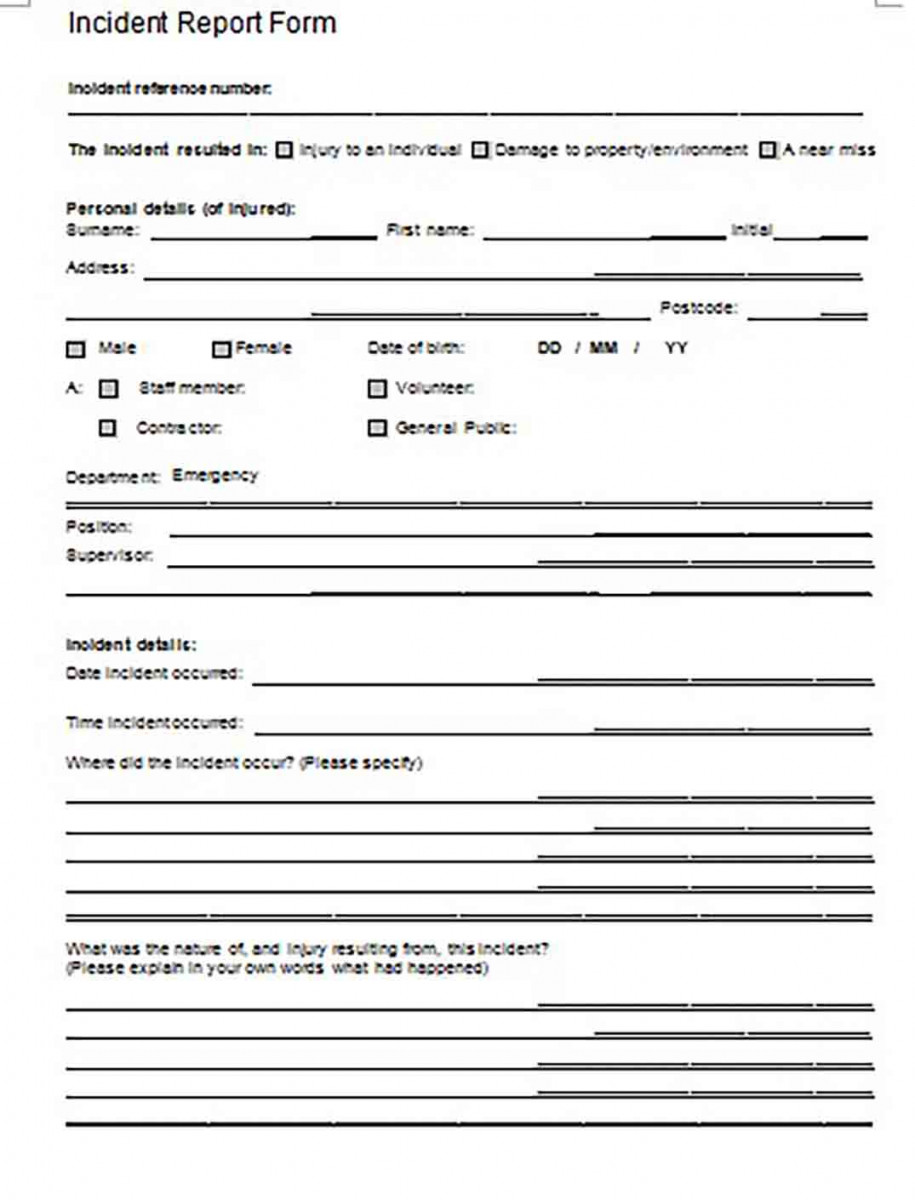 Health Human Services Incident Report Form