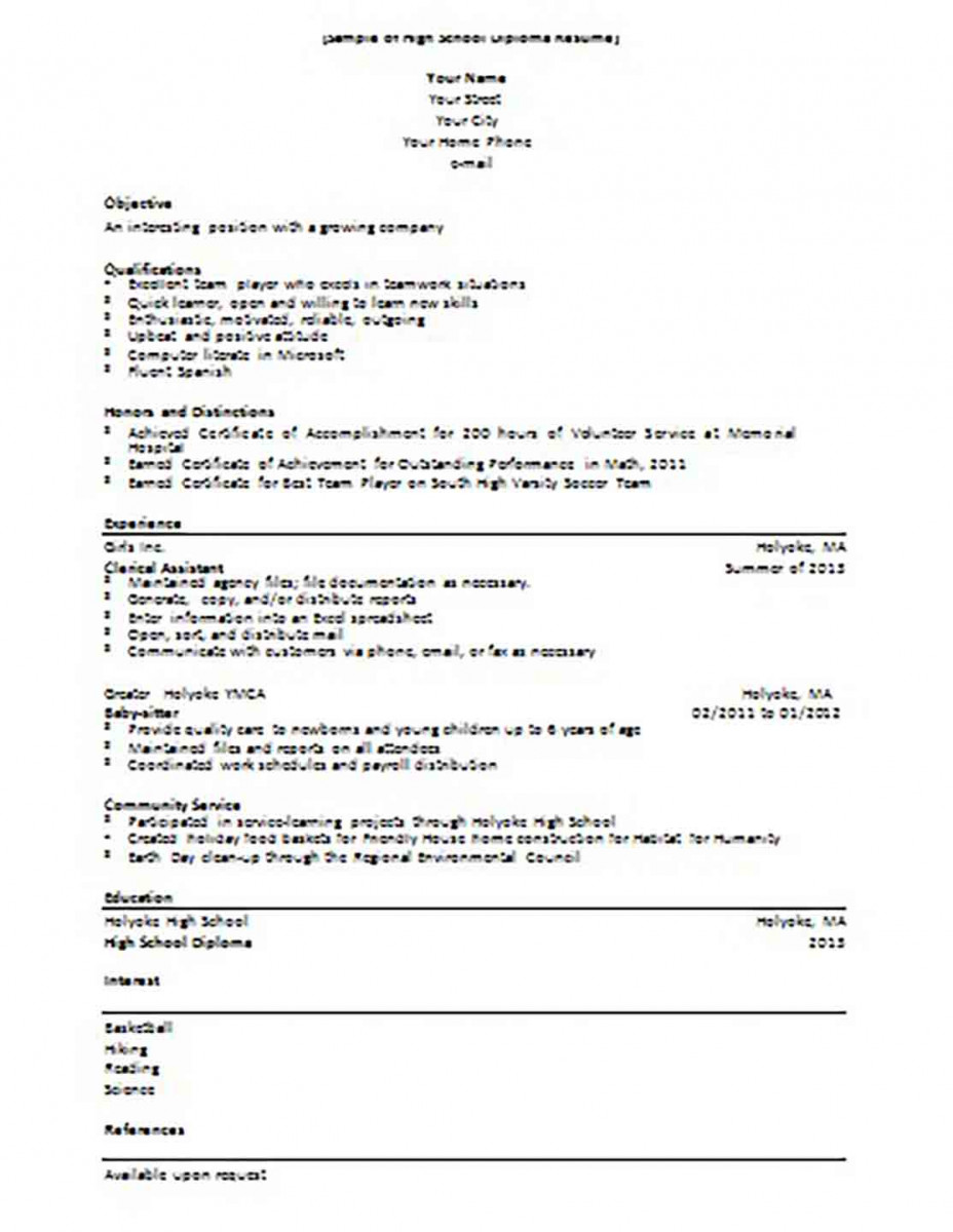 High School Diploma Student Resume