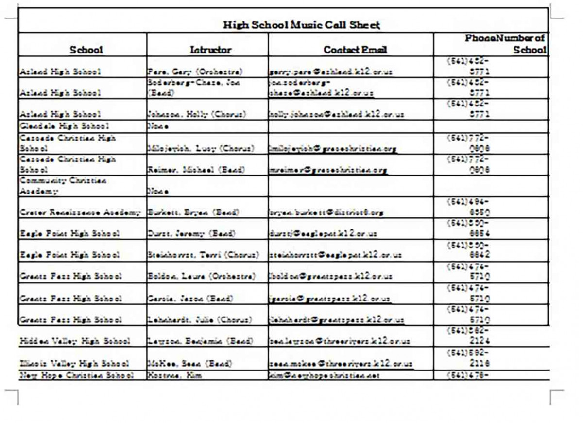 High School Music Call Sheet