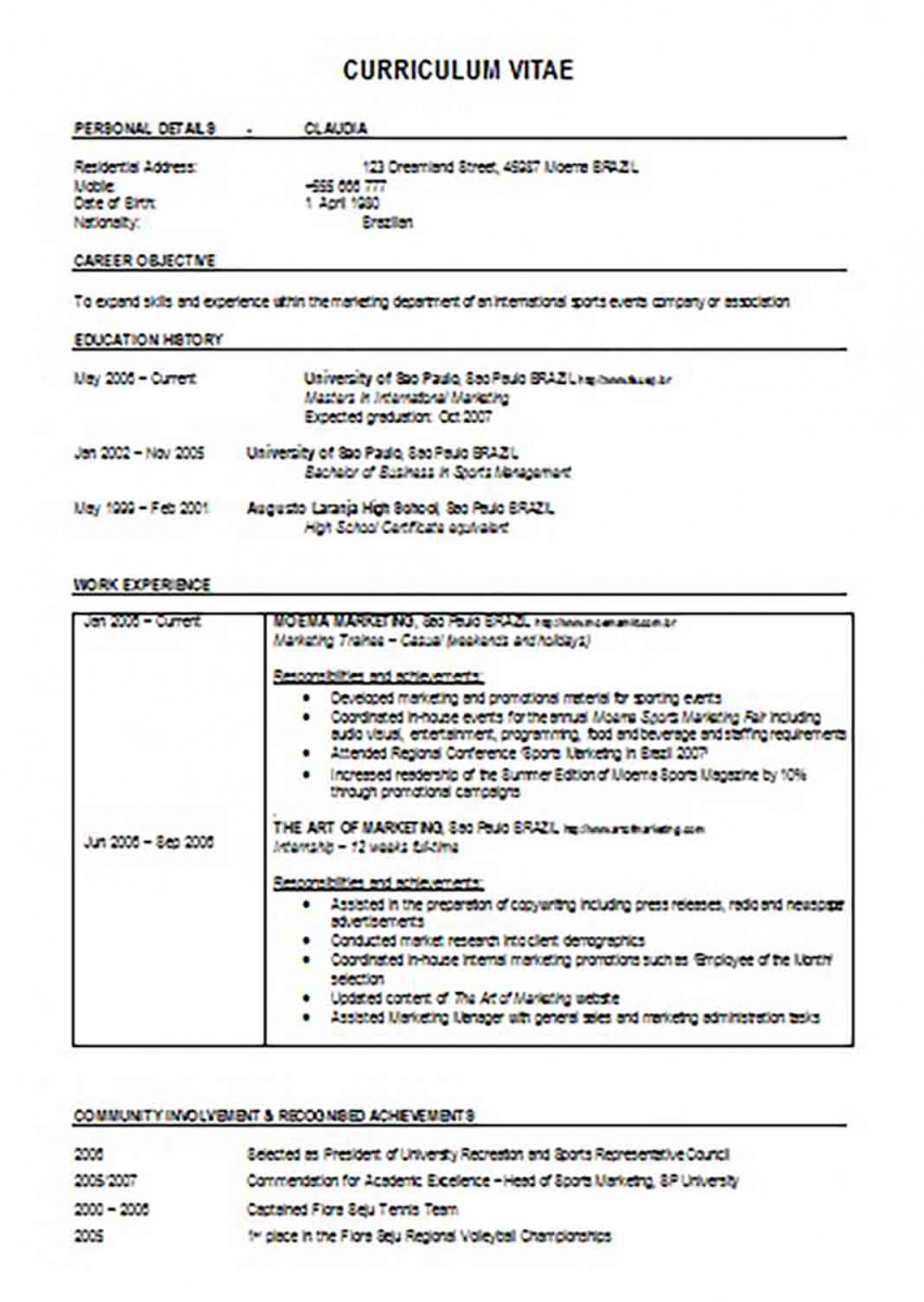 High School Resume For Sports Management Student.doc