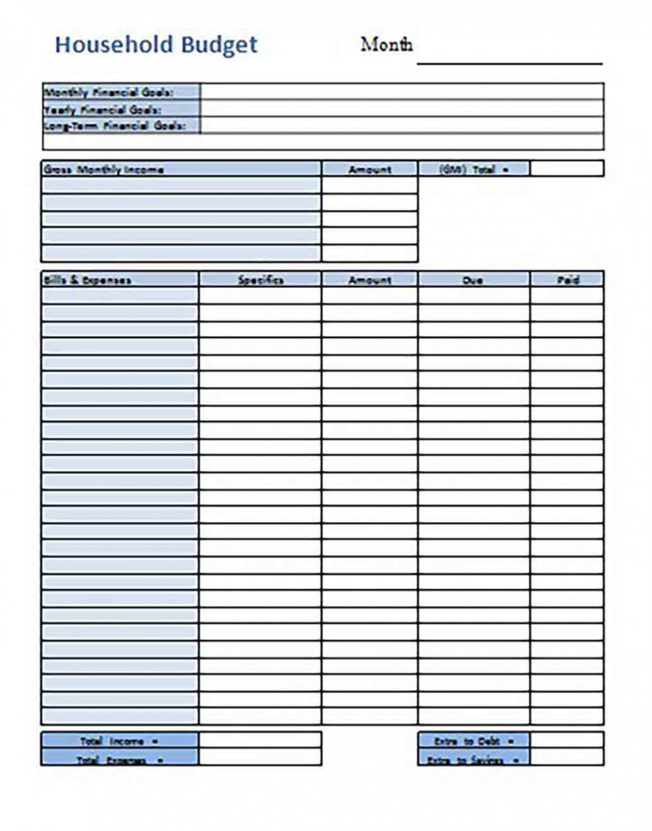 Household Budget templates Excel File