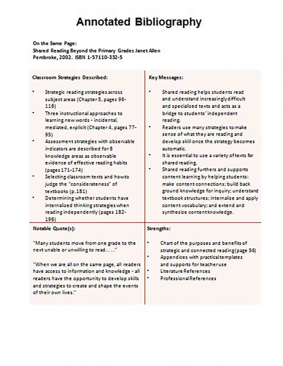 Informative Annotated Bibliography templates Example