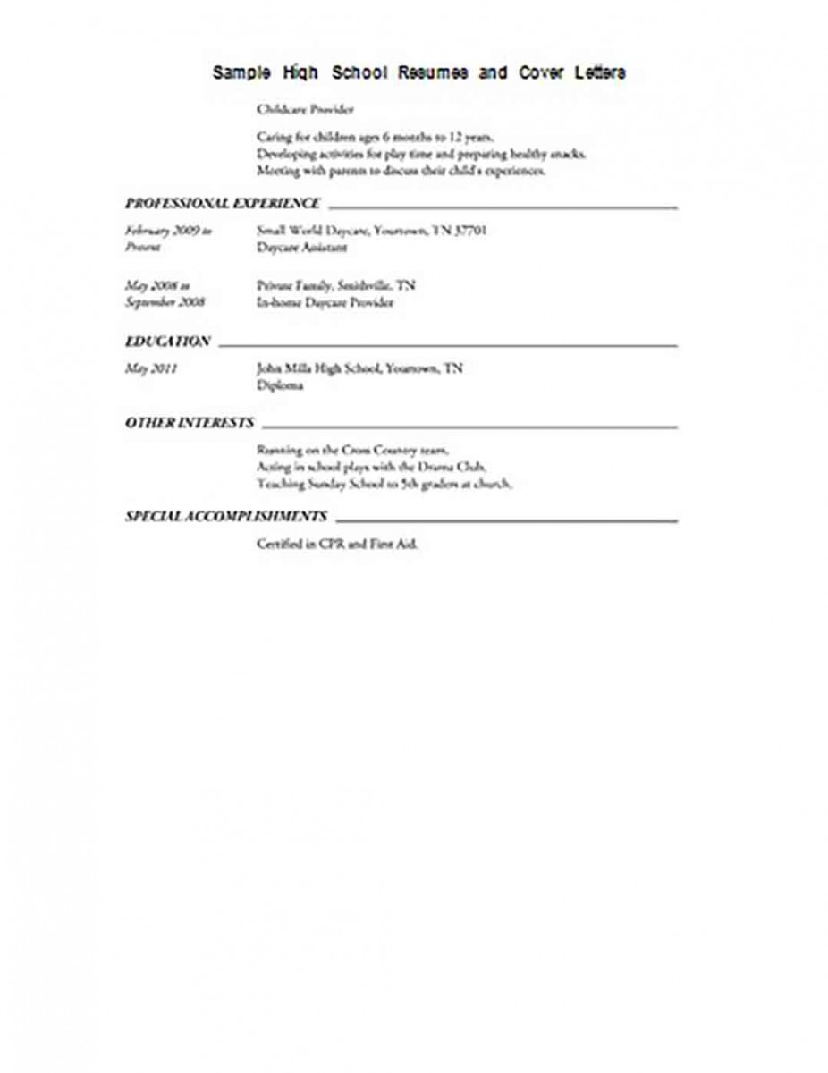 Job Resume For High School Student.