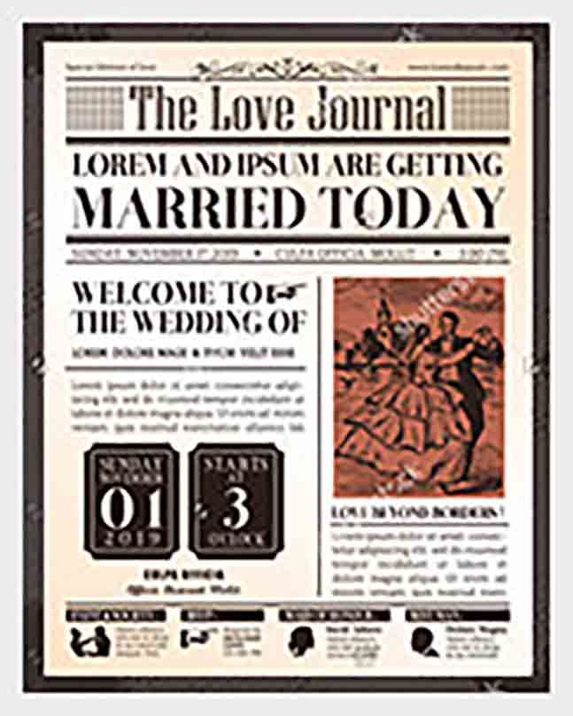 Journal Wedding Newspaper Front Page templates1