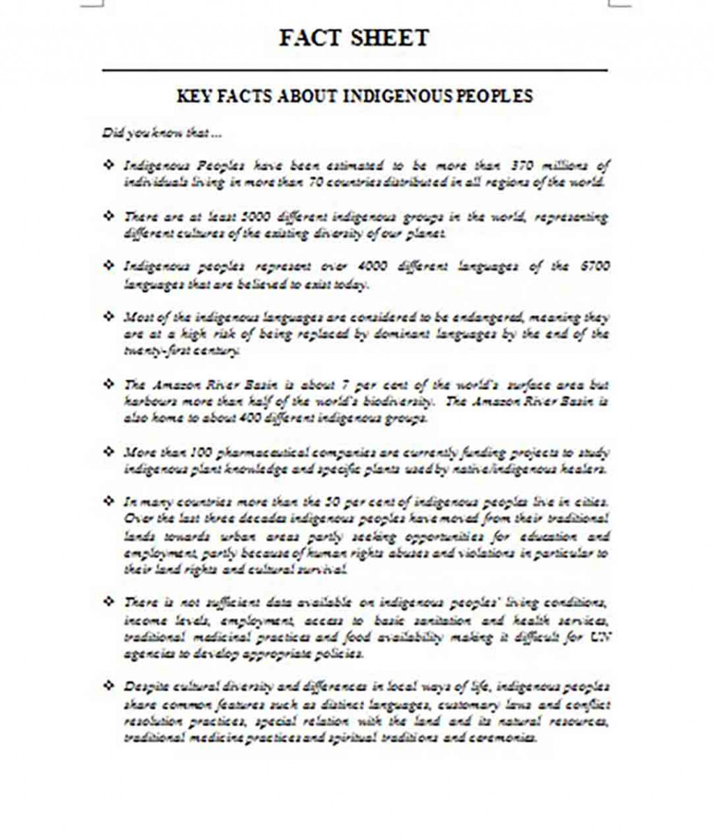 Key Fact Sheet templates About Indigenous People