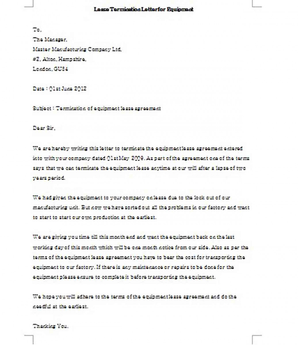 Lease Termination Letter for Equipment templates Example