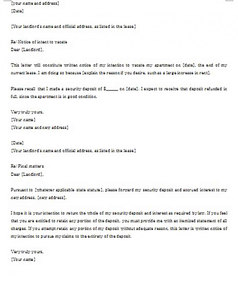 Lease Termination Letter to Landlord Sample