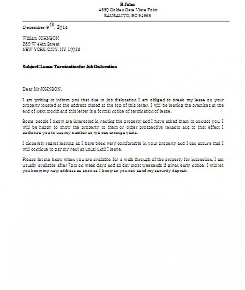 Lease Termination for Job Dislocation Letter