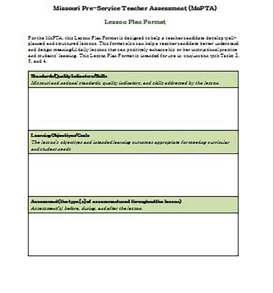Lesson Plan Format templates Word