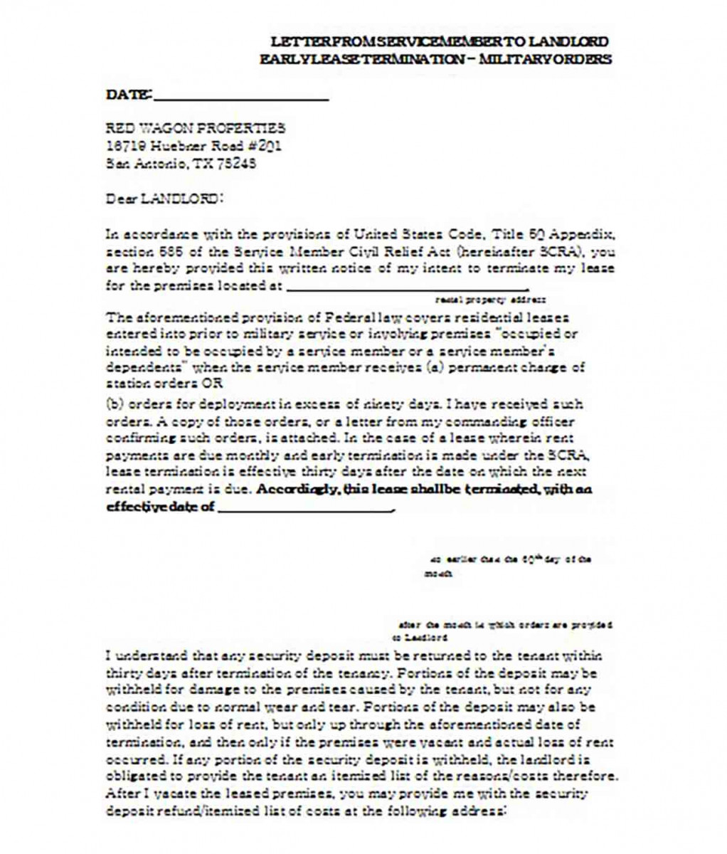 Letter From Servicemember to Landlord Early Lease Termination
