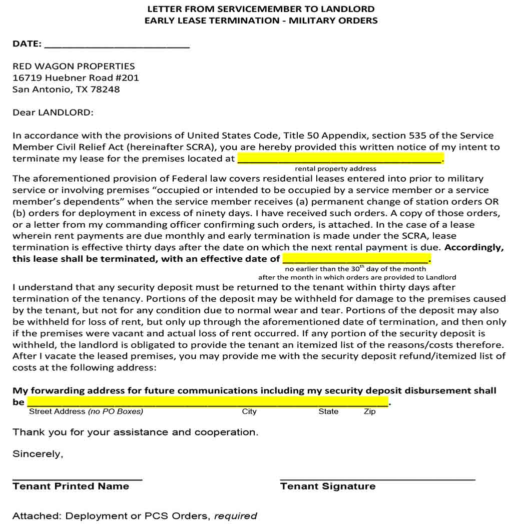 Letter From Servicemember to Landlord Early Lease Termination 1