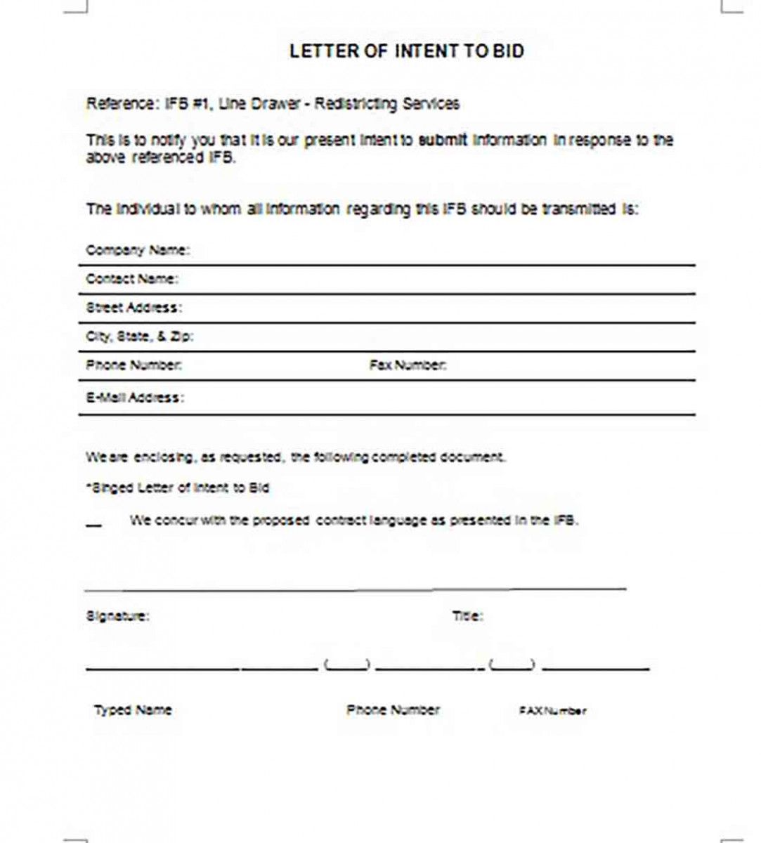 Letter of Intent to Bid templates