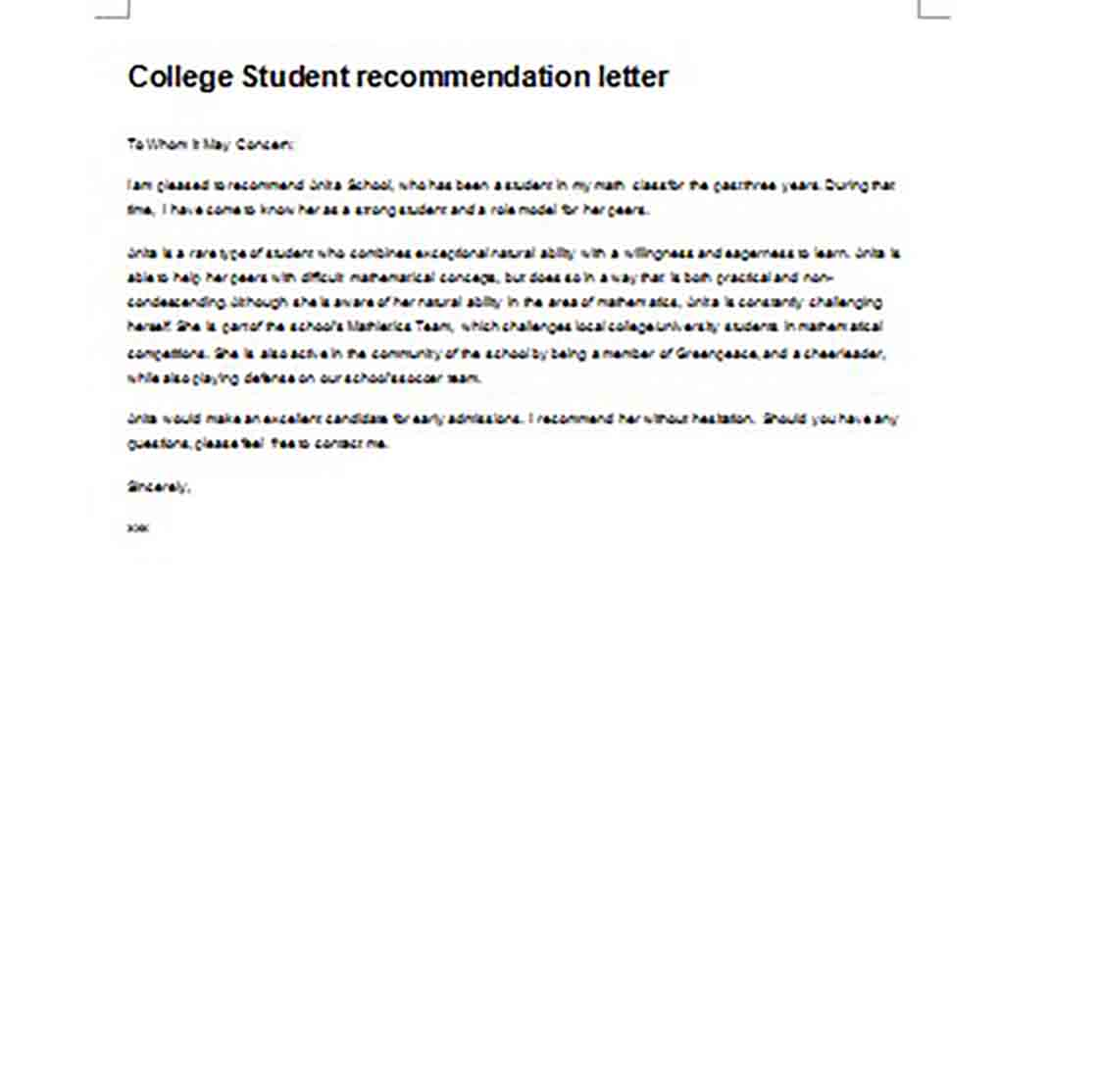 Letter of Recommendation for College Student Admission
