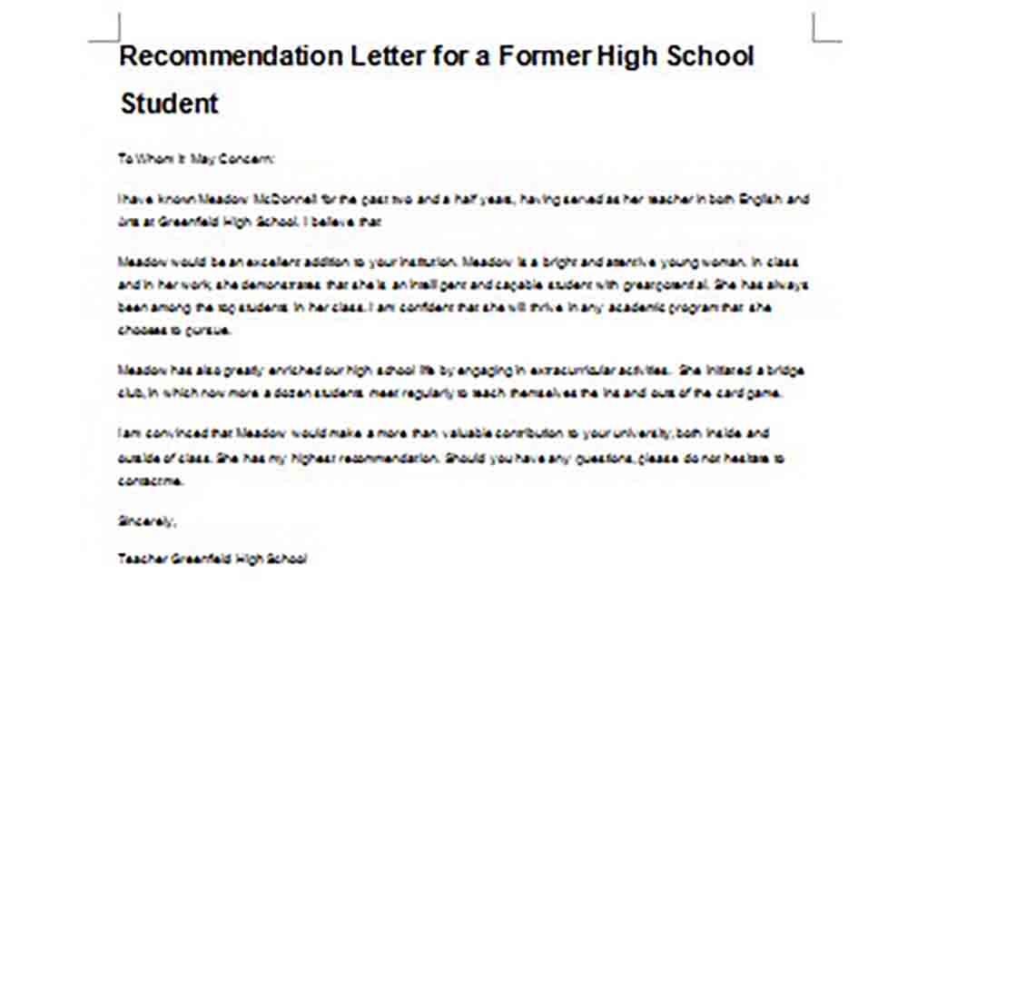 Letter of Recommendation for High School Student Word