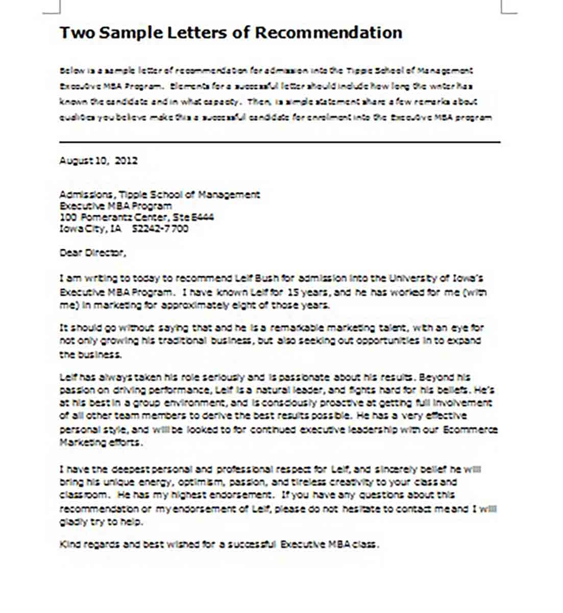 Letter of Recommendation for Student Leadership