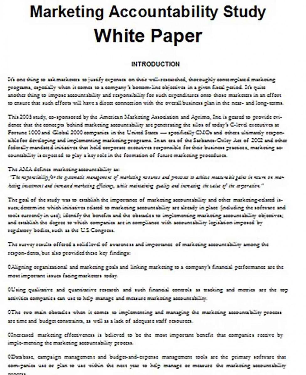 Marketing Accountability Study White