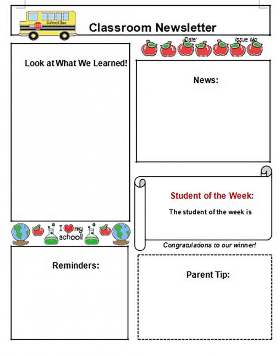 Middle School Classroom Newsletter templates