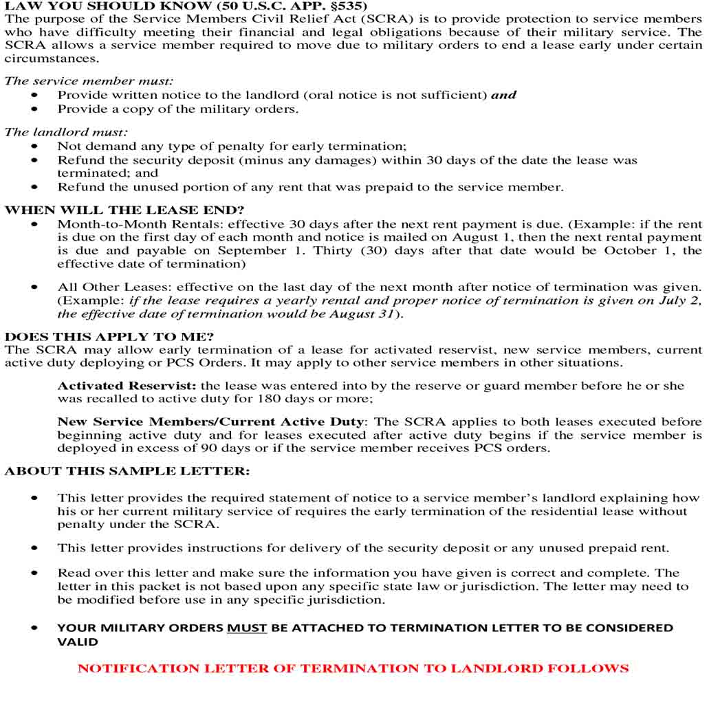 Military Lease Termination Letter to Landlord 1