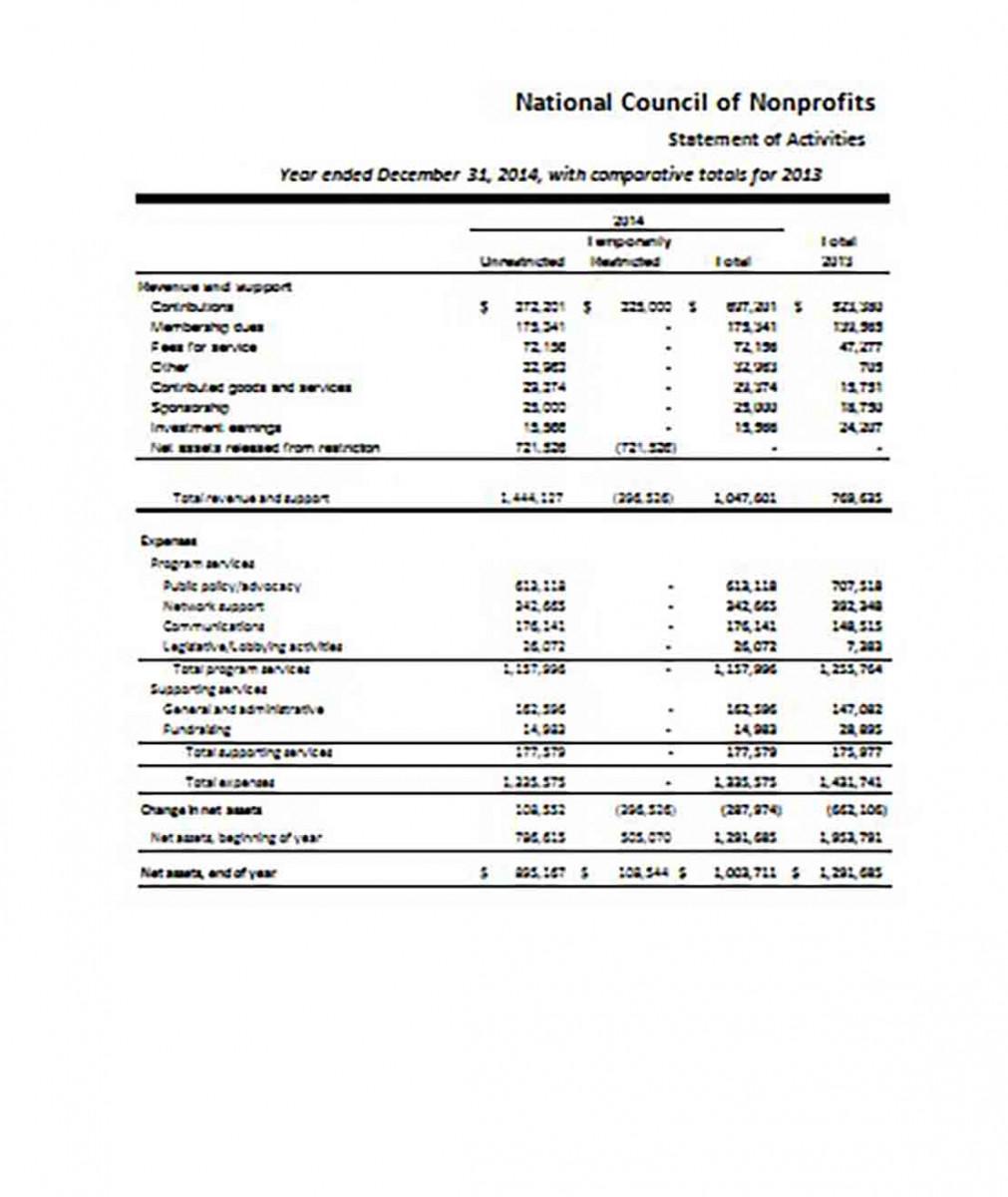 Non Profit Financial Statement templates