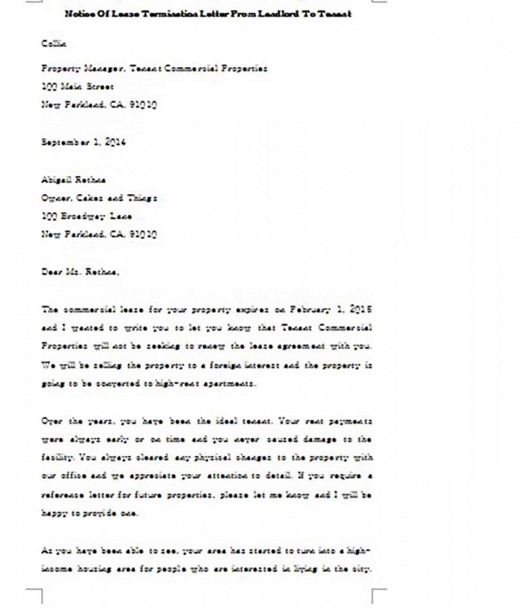 Notice of Lease Termination Letter From Landlord To Tenant Example