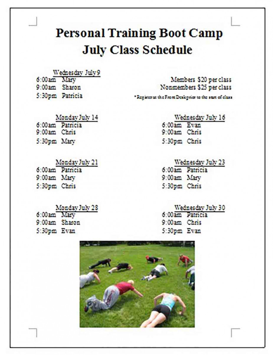 Personal Training Camp Class Schedule
