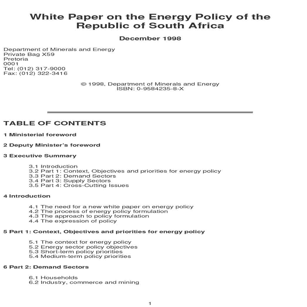 Policy White Paper Sample 1
