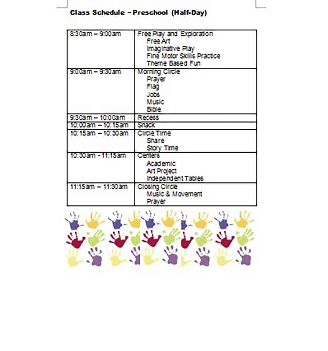 Preschool Class Schedule