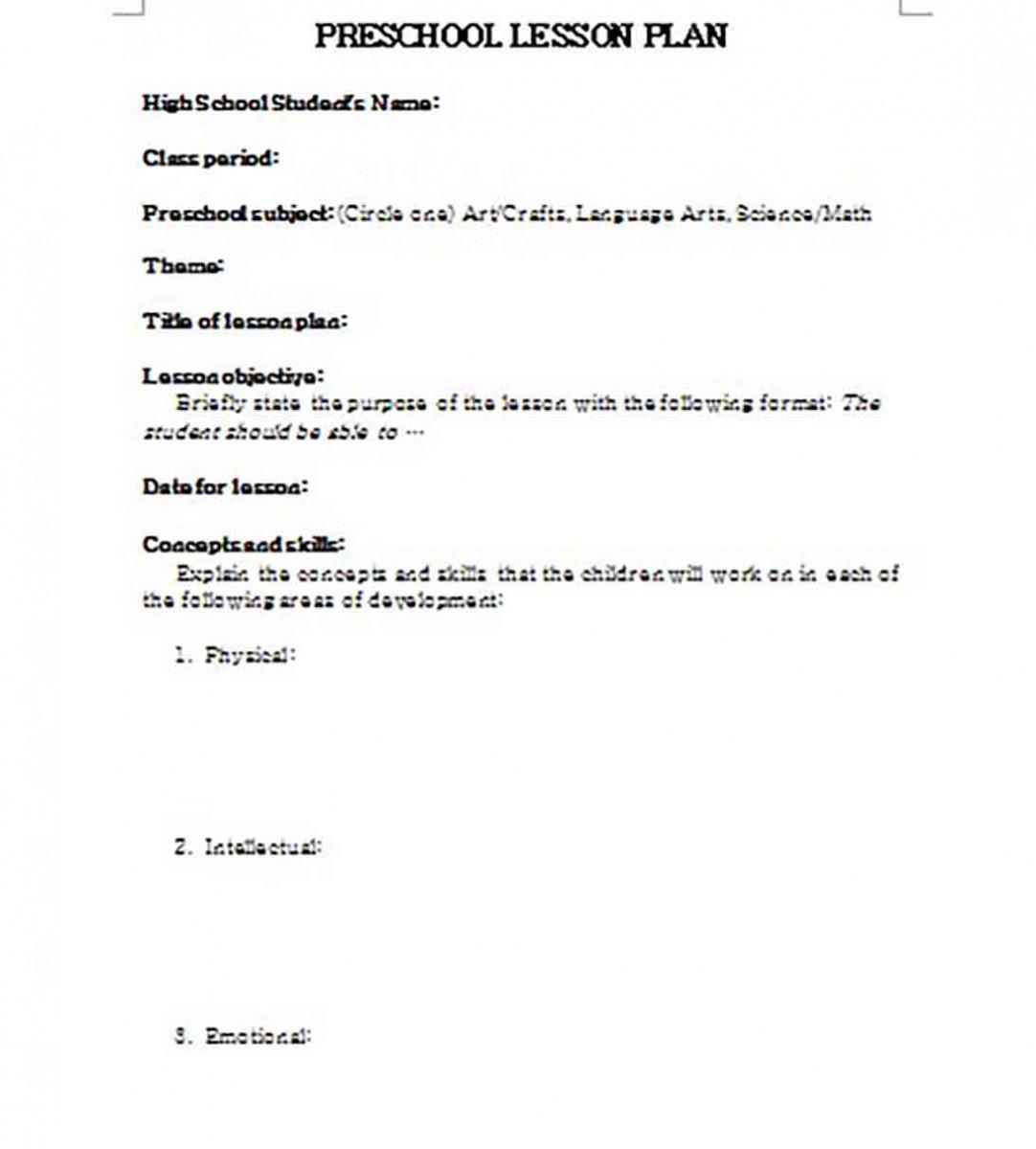 Preschool Lesson Plan templates Word
