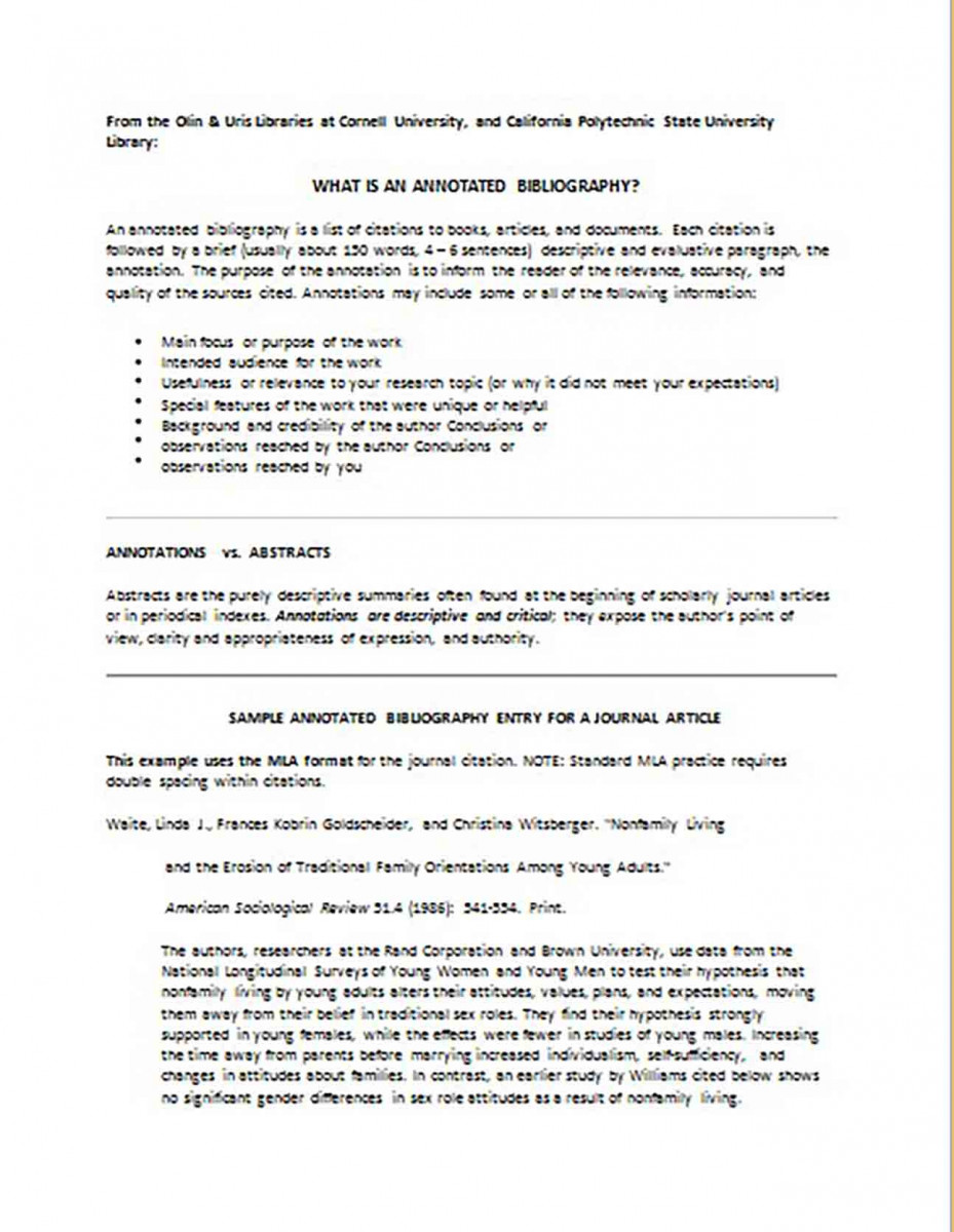 Printable Annotated Bibliography templates For Journal Article