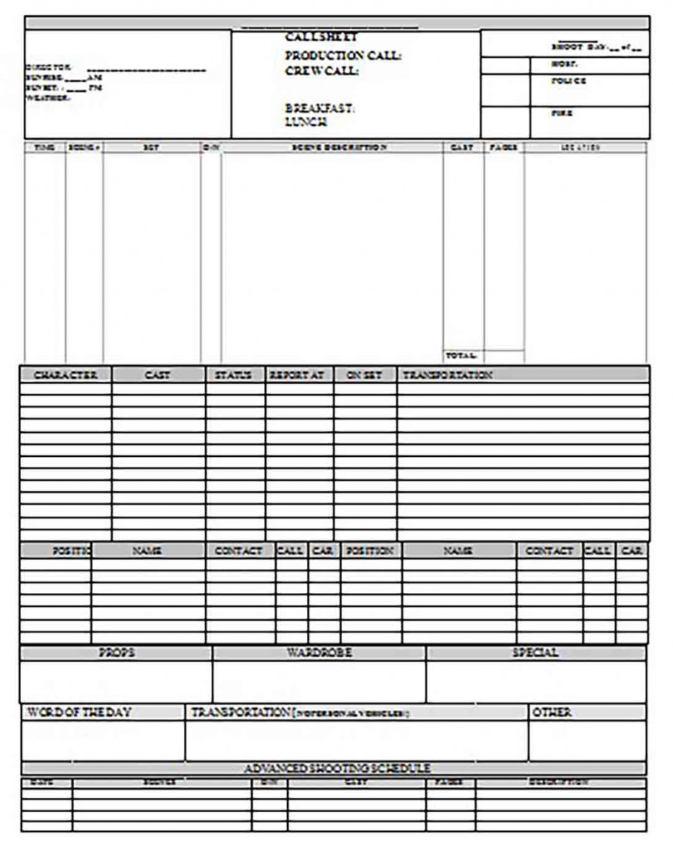 Printable Crew Call Sheet