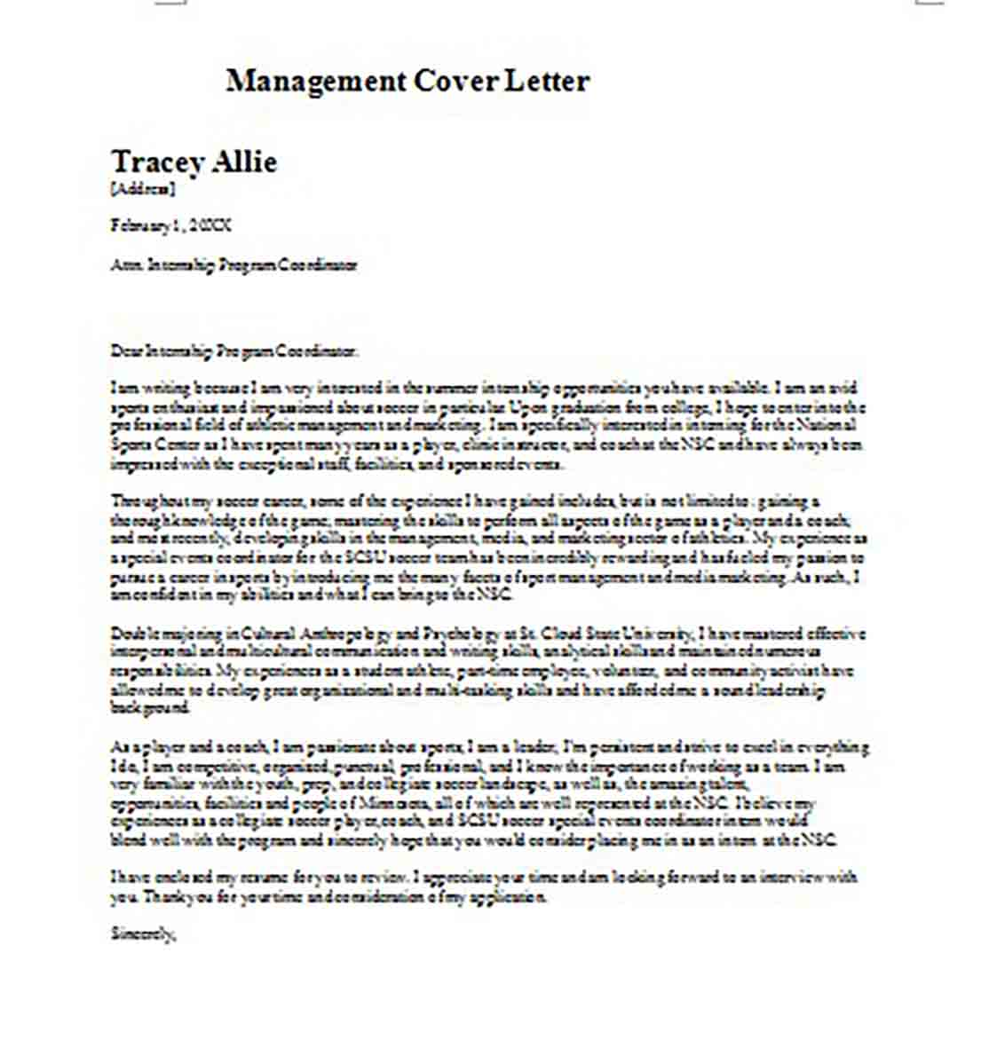 Printable Management Cover Letter