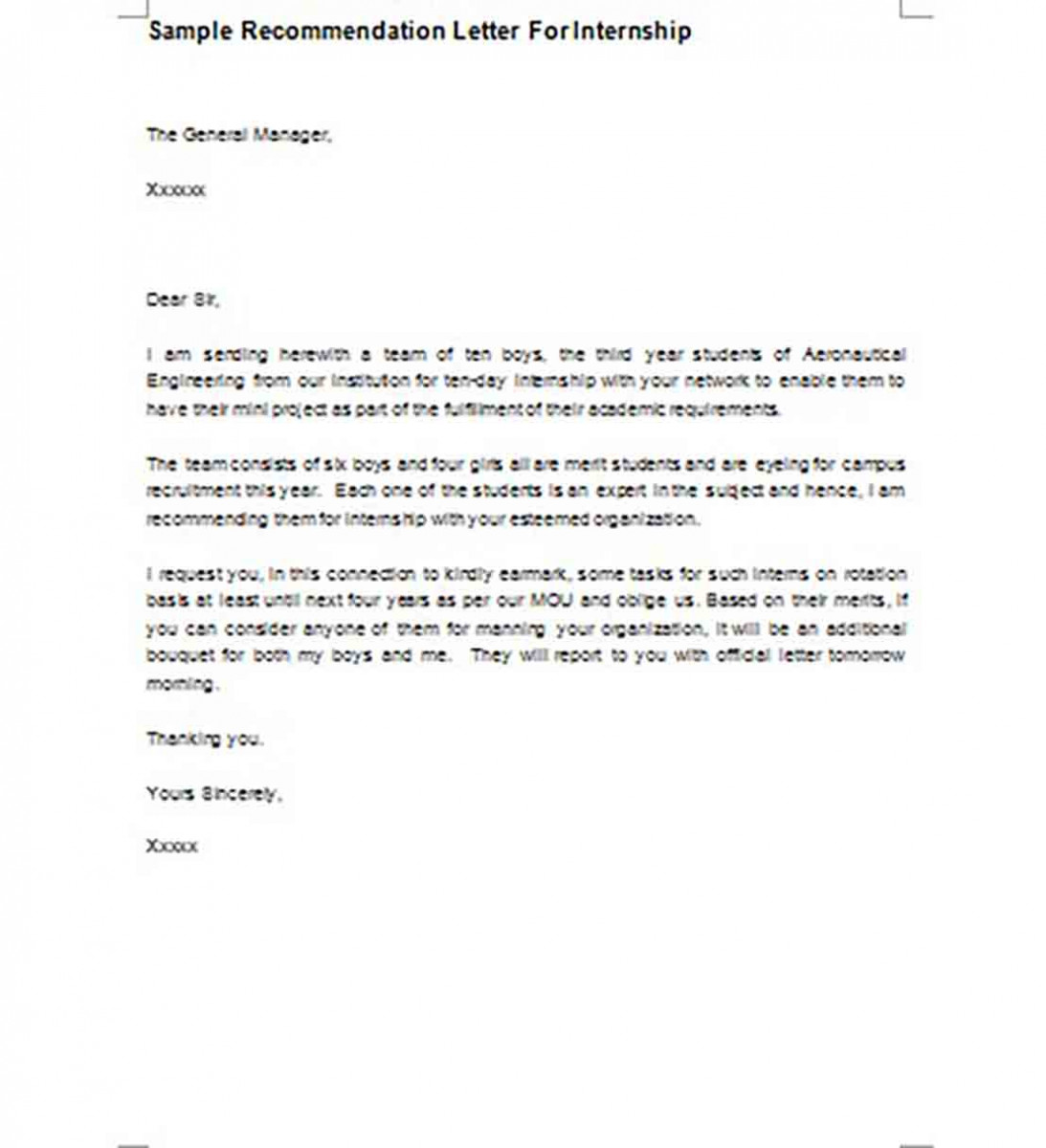 Printable Sample Recommendation Letter For Internship